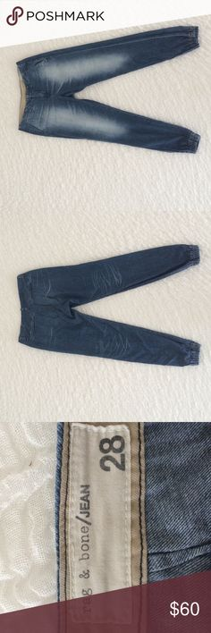 Rag & Bone Drake jeans Great condition. Only worn a handful of times. Super soft denim composes these slouchy Rag & Bone/JEAN pants, and inset elastic tapers the cuffs. Slant hip pockets and welt back pockets. Hook-and-eye closure and zip fly. rag & bone Pants Track Pants & Joggers