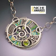 by Liz Hall - Silver Necklace with Gem stones and Iridescent Mosaic Inlay