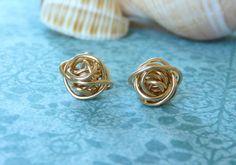 Knot Stud Earrings in Goldfill  Nickel Free by MtCarmelJewelry, $30.00