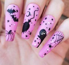 Holloween Nails, Cute Halloween Nails, Halloween Acrylic Nails, Halloween Nail Designs, Best Acrylic Nails, Cool Nail Designs, Spooky Halloween, Pink Halloween, Kawaii Halloween