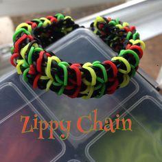 Rasta Zippy Chain Bracelet made on fork