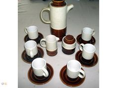 Secla, conjunto de café vintage em creme e castanho