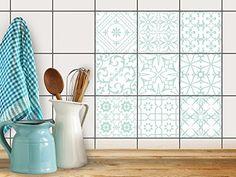 Fliesen verschönern   Motiv-Sticker Aufkleber Folie Badfliesen Küchen-Folie Küchengestaltung   10x10 cm Muster Türkise Ornamente - 9 Stück