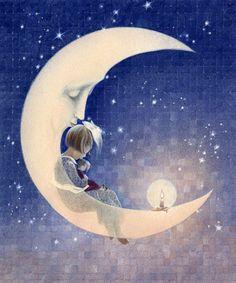 Wowdecor Diamond Painting Kits, Moon Girl Sleep Candle Night, Full Drill DIY Diamond Art Cross Stitch Paint by Numbers (Moon) Moon Moon, Luna Moon, Sun Moon Stars, Sun And Stars, Moon Art, Moon Illustration, Moon Pictures, Paper Moon, Good Night Moon