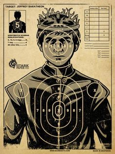 Everybody's favorite underage king, Joffrey Baratheon from Game of Thrones , is subject of a target practice poster, available on RedBubble. Game Of Thrones Joffrey, Arte Game Of Thrones, Game Of Thrones Gifts, Game Of Thrones Party, Game Of Thrones Birthday, Game Of Thrones Decor, Game Of Thrones Food, Game Of Thrones Poster, Rey Joffrey