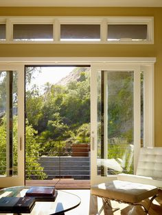 Sliding patio glass doors from bedroom.