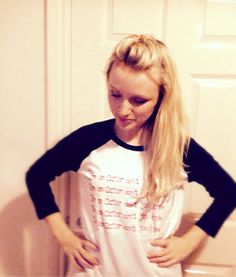 """Talented actress, Emily Berrington, in her bespoke """"I'm an actor don't you know"""" Toby Mott tee"""