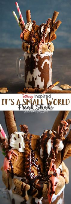 Inspired by the popular Disney ride, this over the top It's a Small World Freak Shake is one incredibly insane dessert! via (Chocolate Milkshake Without Ice Cream) Dessert Drinks, Yummy Drinks, Delicious Desserts, Dessert Recipes, Yummy Food, Tasty, Crazy Shakes, Comida Disney, Chocolate Milkshake