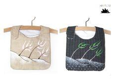 Baberos y productos infantiles de diseño. Hechos y pintados a mano. Personalizados y hechos por encargo. Tela de loneta y trasera de rizo impermeable con broche de presión. Bordado y pintado con pintura para tela.