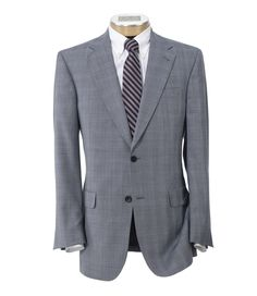 Signature Gold 2-Button Wool Suit- Blue/Grey Fashion Plaid
