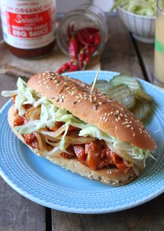 Need a dinner idea? How about BBQ Pulled Jackfruit Sandwiches with 'Slaw & Caramelized Onions? YUM! #vegan