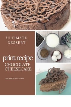 The ultimate chocolate cheesecake recipe. Just print and have fun making this decadent dessert