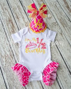 Pink And Yellow 1 2 Birthday Outfit With Party Hat Super Cute 6 Month