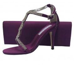 Bernice Aubergine Purple Evening Sandals | Sole Divas