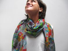 Pañuelo manta estampado de lana cashmere-pashmina. por katakdesign