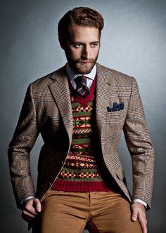 Shetland V Neck Fairisle Pullover Dog Print Wool and Silk Handkerchief