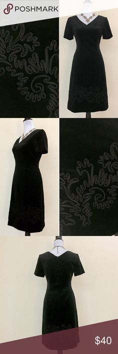 "Laura Ashley Vintage 90s Little Black Velvet Dress Laura Ashley Vintage 90s Little Black Velvet Dress. This vintage Laura Ashley dress would be great to wear when getting dressed up for a party or a date! Beautiful soft velvet fabric. Check out the beautiful embroidered detailing on the bottom of the dress. Garment is in excellent condition. 9/10. No major flaws.   Details: Size: 6 Length: 34"" Width: 30.5"" Arm Length: 5""  Arm width: 11""  Materials: 67% cotton 33% modal  Dry clean only Laura…"