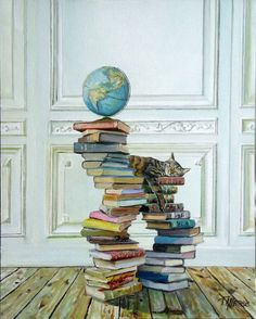 Kittens and books on beautiful paintings by Timothy A. Art Et Illustration, Illustrations, I Love Cats, Crazy Cats, Reading Art, Cat Drawing, Beautiful Paintings, Oeuvre D'art, Cat Art