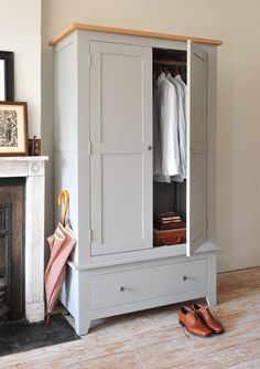 Click through to read full article or PIN for later. gents wardrobe, grey furniture, brogues, gentleman, dapper man, grey wardrobe, painted furniture, country home, country bedroom.