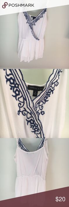 Kendal & Kylie Pacsun White and Blue Romper It's a Small romper super cute and stylish! Designed by Kendall & Kylie! Worn a few times and no damages done! Kendall & Kylie Dresses