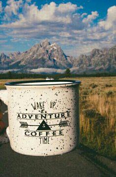 """#ViajaréTudoDeBom ♥ #Café """" Despertar para #Aventura, mas antes #Café """" #Xícaras / #Canecas com #design #decor #criativas ☆"""