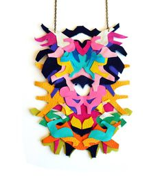 Neon Necklace Leather Color Block Geometric Ink Blot
