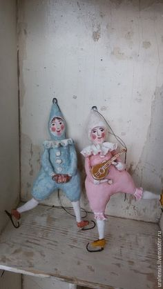 Коллекционные куклы ручной работы. Ярмарка Мастеров - ручная работа. Купить Ватная пара:клоун и клоунесса. Handmade. Разноцветный
