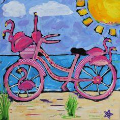 """Flamingo Bike"" Original Artwork, So Fun! www.happygirlsart.com"