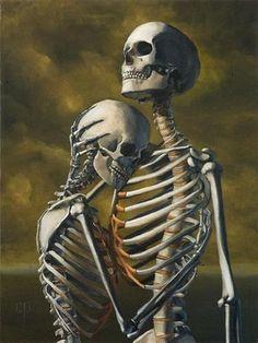 'Til death do us part. Together forever. Skeleton Love, Skeleton Art, Skeleton Couple Tattoo, Gouts Et Couleurs, Totenkopf Tattoos, Desenho Tattoo, Gothic Art, Skull And Bones, Memento Mori