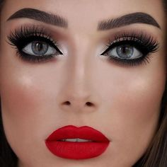Eye Makeup With Red Lipstick Black Smokey Eyes And Red Lipstick Tutorial 2017 Saloni Health Eye Makeup With Red Lipstick Eye Makeup For Red Lipstick Makeup Styles. Eye Makeup With Red Lipstick Gold Smokey Eyes Classic Red Lips Holiday Glam Ma. Red Dress Makeup, Red Lipstick Makeup, Prom Makeup, Makeup Geek, Makeup Inspo, Bridal Makeup, Wedding Makeup, Hair Makeup, Makeup For Silver Dress