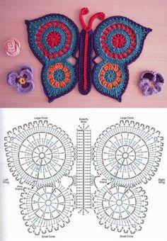 Crochet Butterfly - Chart❥ 4U hilariafina  http://www.pinterest.com/hilariafina/