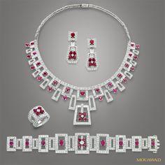 Mouawad Jewelry - Diamond, Ruby, 18K White Gold Suite