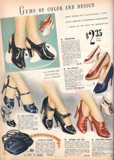 1939 spring and summer sears, roebuck & co. in 2019 1930s Shoes, Vintage Shoes, Vintage Outfits, Office Fashion Women, Womens Fashion For Work, 1930s Fashion, Vintage Fashion, Vintage Style, Modest Summer Fashion