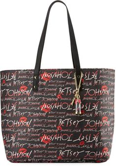dce010864696 Betsey Johnson Allover Logo-Print Faux-Leather Tote Bag