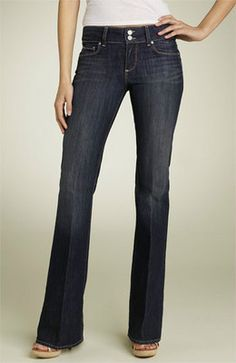 """Women's Paige Jeans, size 26""""x33"""", Ultra-Low Rise, Boot Cut, Zipper Front, """"H.H.Boot"""" Pre-Owned"""