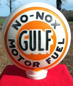 Gulf No-Nox Motor Fuel gas pump globe Old Gas Pumps, Vintage Gas Pumps, Painted Globe, Firestone Tires, American Pickers, Gas Service, Old Garage, Neon Clock, Old Gas Stations