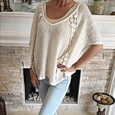Gorgeous cream lightweight boho sweater! Crochet detail and flattering fit - this is light- so soft and elegant! Tops