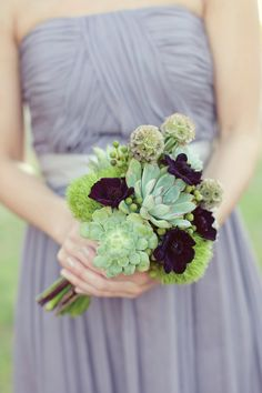 Earthy and natural green bouquet.  Photo by Sarah Kate Photographer.  www.wedsociety.com  #wedding #bouquets