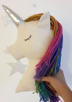 Unicorn pillow nursery decor, rainbow unicorn with shiny horn, magical decor for kids and baby rooms