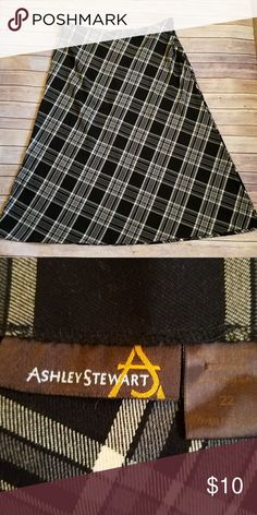 "ASHLEY STEWART PLAID SKIRT PLUS SIZE 22 Like new  64% polyester  34% rayon 2 % spandex  Band 45"" Length 40"" Ashley Stewart Skirts"