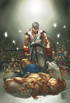 Ryu vs. Sagat  Can you name all the spectators in the background?