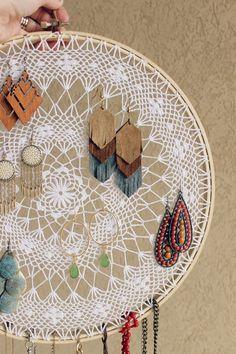 $2 DIY Boho Dreamcatcher Jewelry Display and Organizer Idea: the Child at Heart Blog