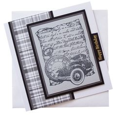 Handmade Old Car, Pocket Watch Birthday Card