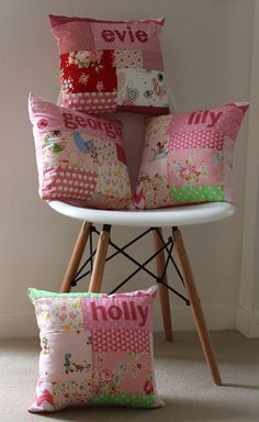 CUSTOM personalised patchwork cushion boy or girl