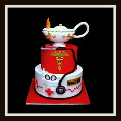 Nightingale lamp is made out of rkt then covered in fondant. Everything edible. Got the idea from various nurse cakes from the internet..