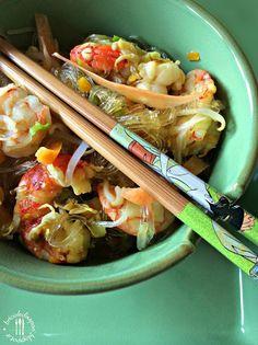 Briciole di Sapori: Spaghetti di soia con verdure, radici e gamberi. C...