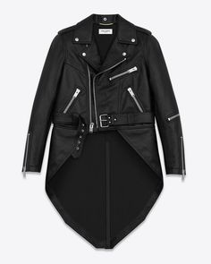 I would die for this !!!!! 6290 Saint Laurent leather motorcycle jacket with elongated back, zip back vent, epaulets, 3 zip pockets, belted waistband and zip cuffs.