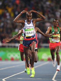 #TOPSHOT Britain's Mo Farah celebrates after he won the Men's 10000m during the athletics event at the Rio 2016 Olympic Games at the Olympic Stadium...