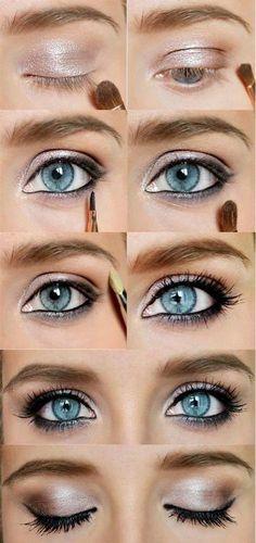 Prosty, lekki i na co dzień make up oka. Świetnie nadaje się dla kobiety skromnej i chcącej pozostać naturalnie piękną.