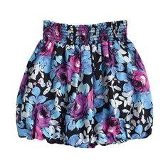 this fabulous blue and purple flower patterned skirt flares out and gathers to accentuate the waist Floral Mini Skirt, Patterned Skirt, Blue And Purple Flowers, Elastic Waist Skirt, Bubble Skirt, Mini Skirts, Blue Skirts, Flower Patterns, Tie Dye Skirt